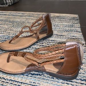 Brown braided sandals